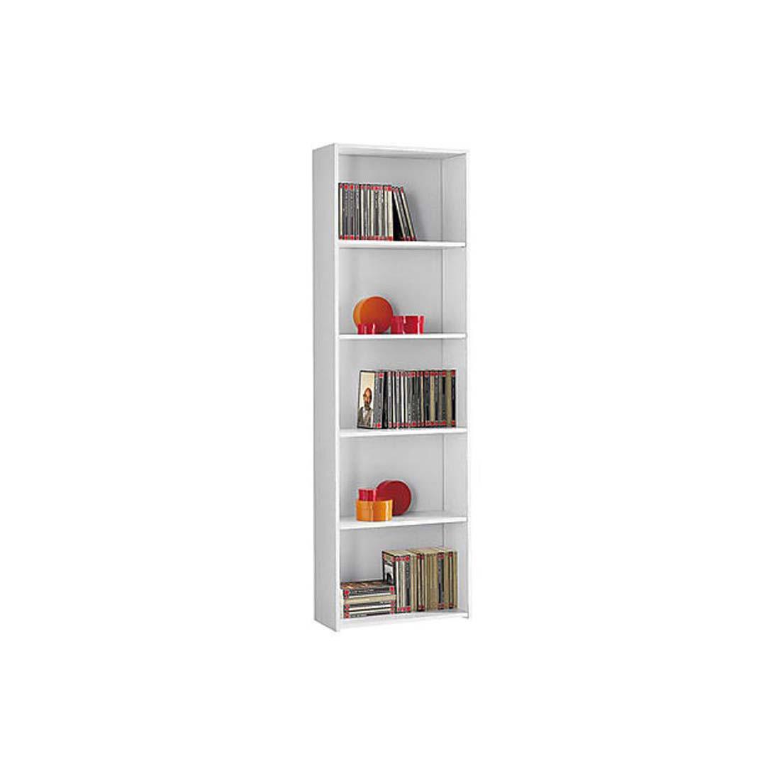 Mobile libreria 5 ripiani 55x21x175 cm bianca for Libreria bianca economica